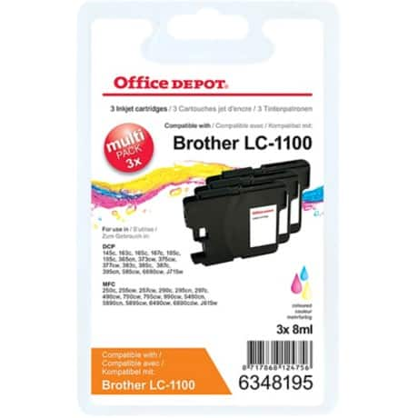 Office Depot Compatible Brother LC1100 Ink Cartridge 3 Colours 3 pieces