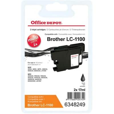 Office Depot Compatible Brother LC1100BK Ink Cartridge Black 2 Pieces