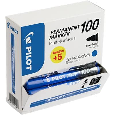 Pilot 100 Permanent Marker Fine Bullet Blue 20 Pieces
