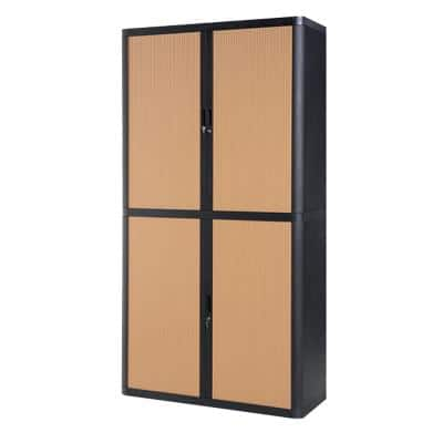 Paperflow Tambour Cupboard EasyOffice Black 1,100 x 415 x 2,040 mm