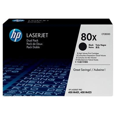 HP 80X Original Toner Cartridge CF280XD Black Pack of 2