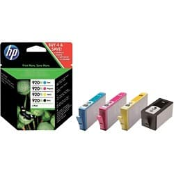 HP 920XL Original Ink Cartridge C2N92AE Black & 3 Colours 4 pieces