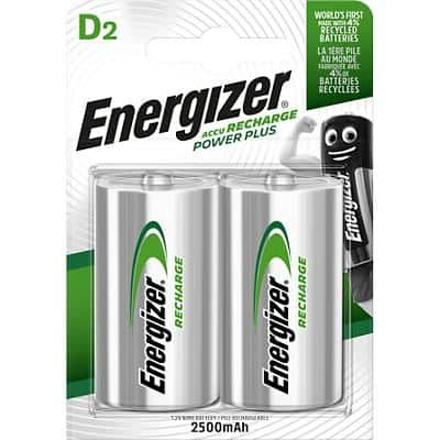 Energizer D Rechargeable Batteries Power Plus HR20 2500mAh NiMH 1.2V 2 Pieces