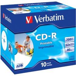 Verbatim CD-R 700 MB 52X White Inkjet Printable Jewelcase (Pack 10)