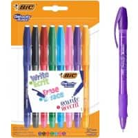 BIC Gel-ocity illusion Retractable Rollerball Pen Erasable Medium 0.4 mm Assorted Pack of 8