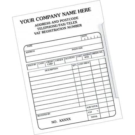 Customised Forms Receipt Pad 98 x 152 mm 10 pieces
