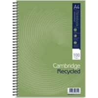 Cambridge Notebook Green A4 Ruled Perforated 50 Sheets Pack of 5