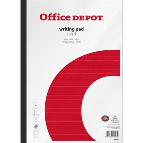 Office Depot Writing Pad White, Red Ruled unperforated A4 29.5 x 21 cm Pack 5