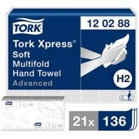 Tork Folded Hand Towels H2 Xpress Advanced 2 Ply Z-fold White 21 Pieces of 136 Sheets