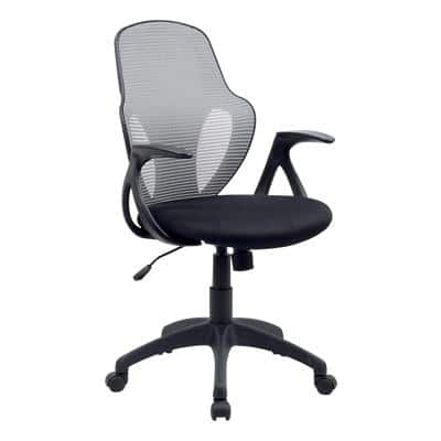 Realspace Basic Tilt Office Chair with Armrest and Adjustable Seat Austin Bonded Leather Grey