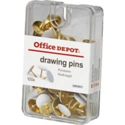 Office Depot Drawing Pins White 100 Pieces