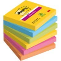 Post-it Super Sticky Notes Assorted Colours 76 x 76 mm 6 Pads of 90 Sheets