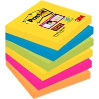 Post-it Super Sticky Notes 76 x 76 mm Rio De Janeiro Assorted Colours 6 Pads of 90 Sheets