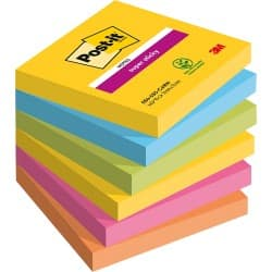 Post-it Super Sticky Notes Rio Assorted Plain 76 x 76 mm 70gsm 6 pieces of 90 sheets