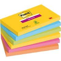 Post-it Super Sticky Notes 127 x 76 mm Rio De Janeiro Assorted Colours 6 Pads of 90 Sheets