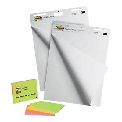 Post-it Freestanding Meeting Chart 77.4 x 63.5 cm White 2 Pieces of 30 Sheets