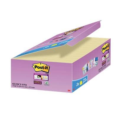 Post-it Super Sticky Notes 47.6 x 47.6 mm 90 Sheets Canary Yellow Value Pack 21 + 3 Free