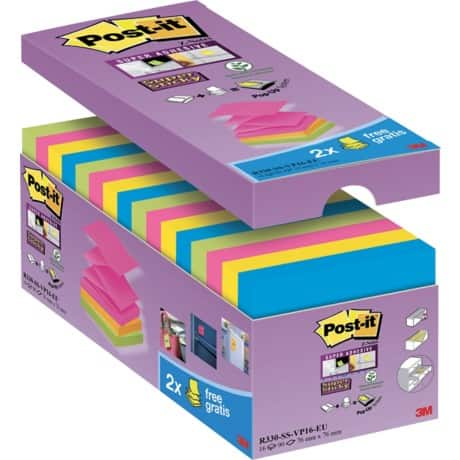 Post-it Z-Sticky Notes Assorted Plain 76 x 76 mm 70gsm 16 pieces of 90 sheets