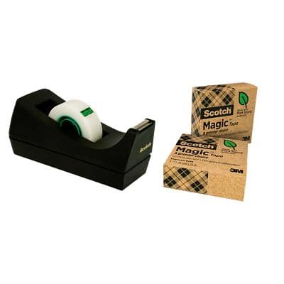 Scotch Tape Dispenser Black with 3 Rolls of Magic Tape