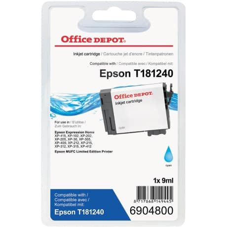 Office Depot Compatible Epson 18XL Ink Cartridge t181240 Cyan