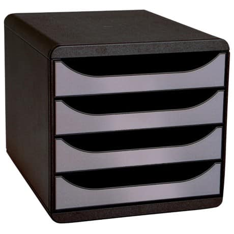 Exacompta Big Box 4-drawer Drawer Set – Black/Silver