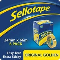 Sellotape Tape Original Golden Easy Tear Polypropylene 24mm x 66m Transparent 6 Rolls