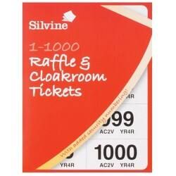 Silvine Raffle and Cloakroom Tickets book – 1-1000 (pack of 6)