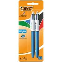BIC 4 Colours Retractable Ballpoint Pen with Grip Medium 0.4 mm Pack of 2