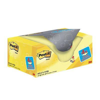 Post-it Sticky Notes 38 x 51 mm Canary Yellow 20 Pieces of 100 Sheets