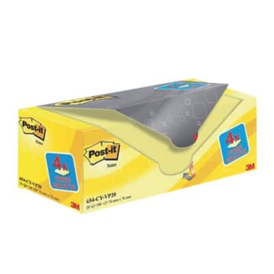 Post-it Sticky Notes 76 x 76 mm Canary Yellow 20 Pieces of 100 Sheets