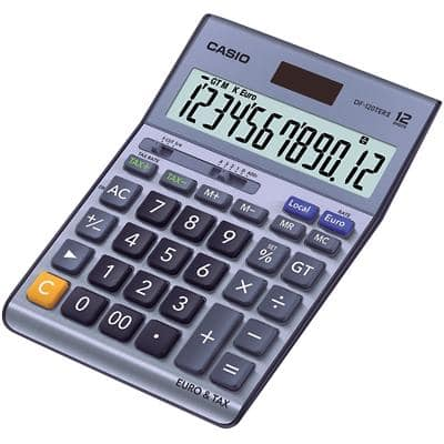 Casio Desktop Calculator DF-120TERII 12 Digit Display Blue