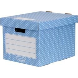 Fellowes Storage Box Bankers Style White, Blue cardboard 4 pieces