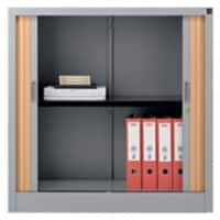 Realspace Tambour Cupboard Silver, Beech 1,000 x 1,000 x 450 mm