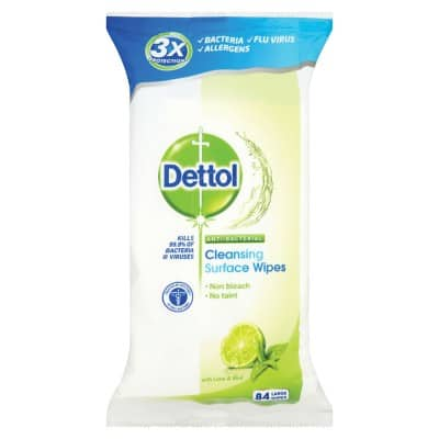 Dettol Wipes Multi-Purpose Lime, Mint 84 Pieces