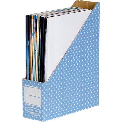 BANKERS BOX Style Magazine File Blue, White 26.3 x 81 x 31.6 cm Pack of 10
