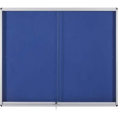 Bi-Office Lockable Noticeboard Exhibit Felt Blue 66.1 x 92.6 cm