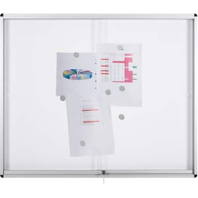 Bi-Office Display Case Exhibit Magnetic White 96.7 x 132.4 x 7.5 cm
