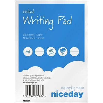 Niceday A6 Top Bound Blue Paper Cover Writing Pad Ruled Micro Perforated 100 Pages Pack of 10