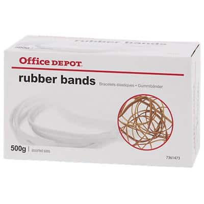 Office Depot Rubber Bands Natural Assorted Size 500g