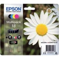 Epson 18 Original Ink Cartridge C13T18064012 Black & 3 Colours 4 Pieces