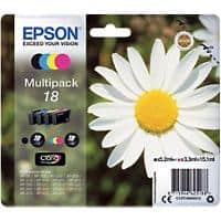 Epson 18 Original Ink Cartridge C13T18064012 Black & 3 Colours Pack of 4