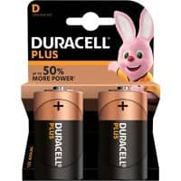 Duracell D Alkaline Batteries Plus Power MN1300 LR20 1.5V Pack of 2