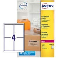 Avery L7569-25 Parcel Labels 139 x 99.1 mm Clear 25 Sheets of 4 Labels