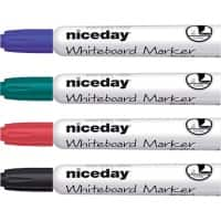 Niceday Whiteboard Marker WCM1-5 Chisel 5 mm Black, Blue, Red, Green 4 Pieces