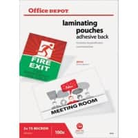 Office Depot Adhesive Back Laminating Pouches Glossy 2 x 75 (150 Micron) A4 100 Pieces
