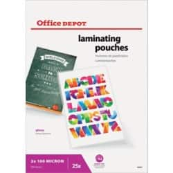 Office Depot Laminating Pouches glossy 200 microns A2 25 pieces