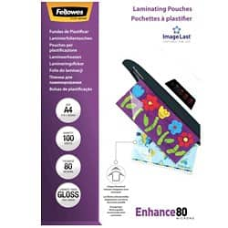 Fellowes Laminating Pouches Glossy 80 Micron A4 100 Pieces