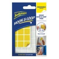 Sellotape Removable Pads Hook n Loop White, Yellow