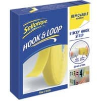 Sellotape Sticky Hook Strip Removable Yellow 12m