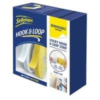 Sellotape Hook and Loop Strip  2055786 White, Yellow